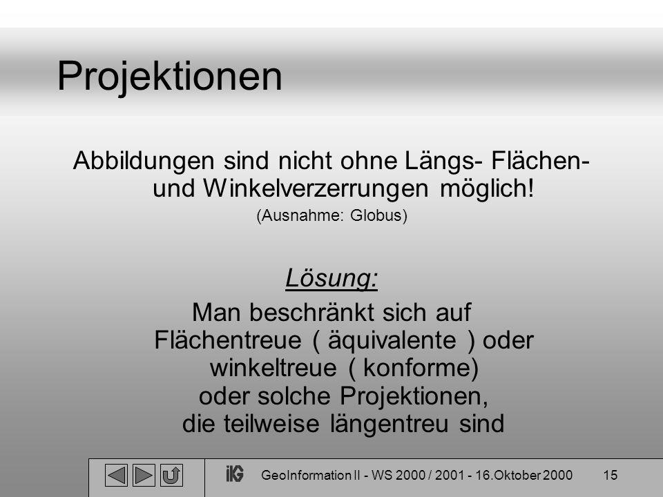 GeoInformation II - WS 2000 / 2001 - 16.Oktober 200015 Projektionen Abbildungen sind nicht ohne Längs- Flächen- und Winkelverzerrungen möglich! (Ausna