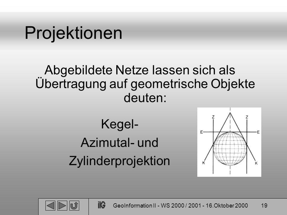 GeoInformation II - WS 2000 / 2001 - 16.Oktober 200019 Projektionen Abgebildete Netze lassen sich als Übertragung auf geometrische Objekte deuten: Keg