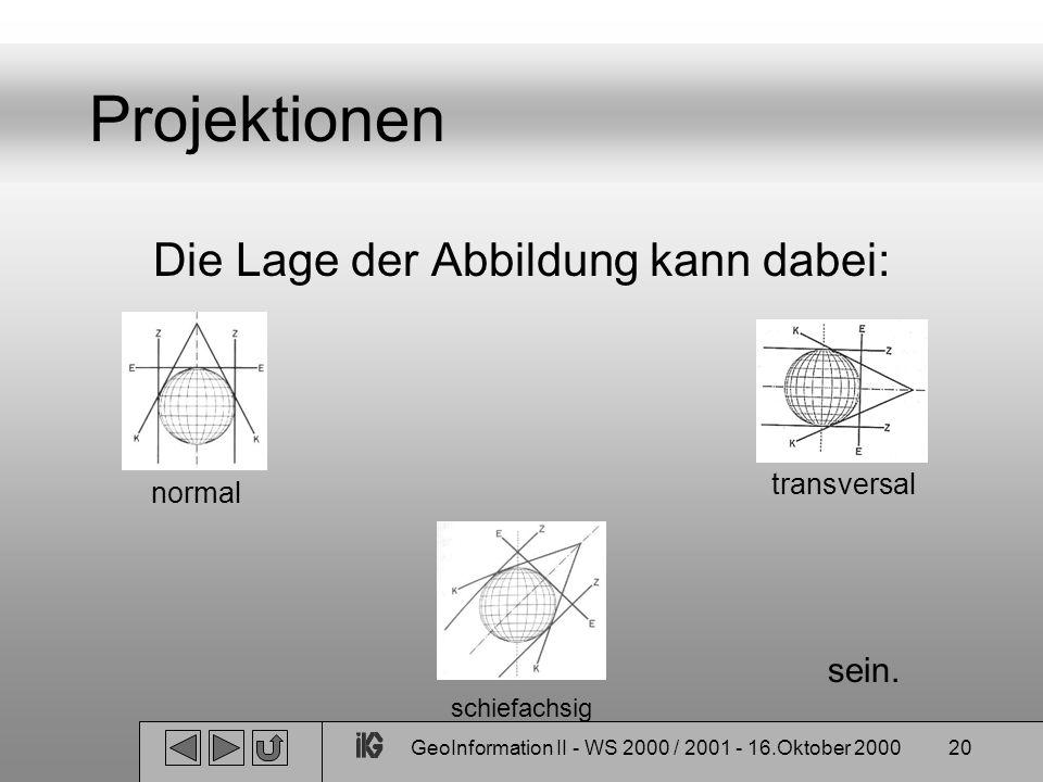 GeoInformation II - WS 2000 / 2001 - 16.Oktober 200020 Projektionen Die Lage der Abbildung kann dabei: normal transversal schiefachsig sein.