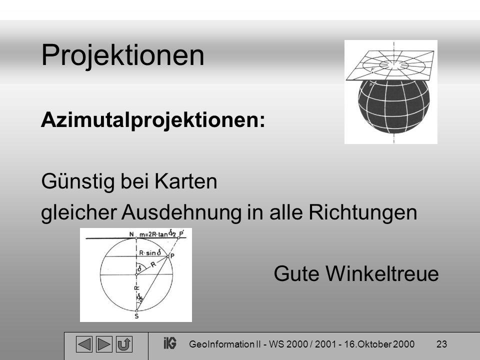 GeoInformation II - WS 2000 / 2001 - 16.Oktober 200023 Projektionen Azimutalprojektionen: Günstig bei Karten gleicher Ausdehnung in alle Richtungen Gu