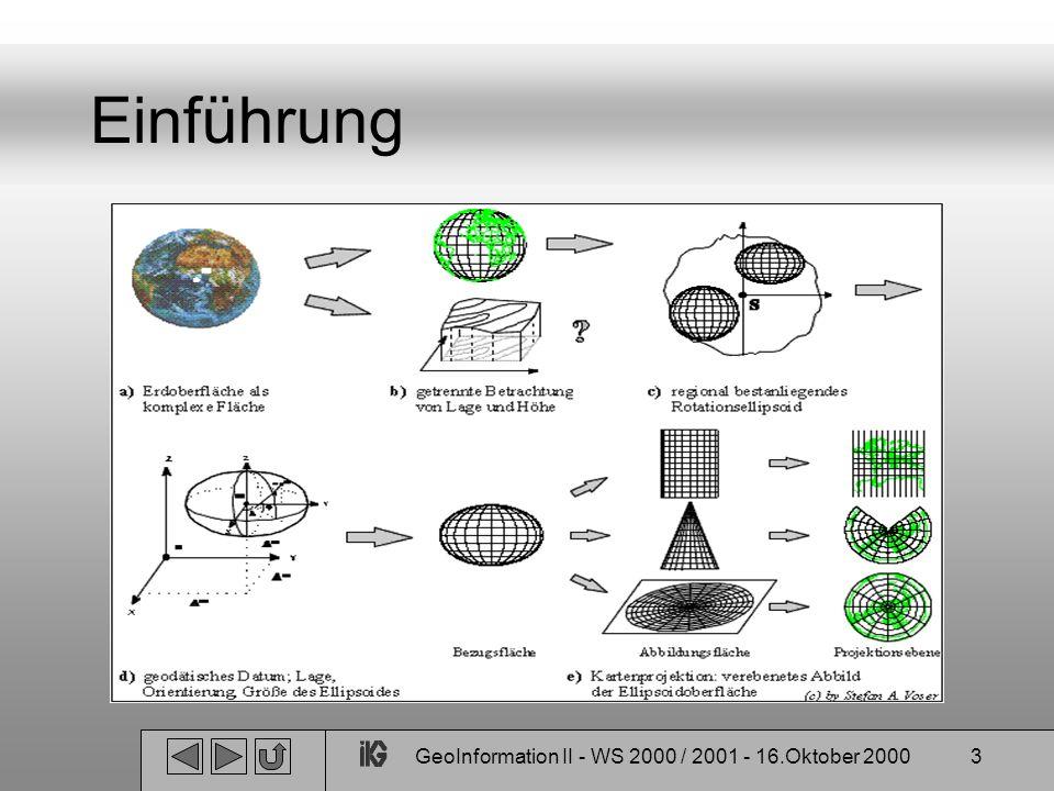 GeoInformation II - WS 2000 / 2001 - 16.Oktober 200024 Projektionen Zylinderprojektionen: Hauptverwirklichung: Mercatorprojektionen Beliebt zur Darstellung der ganzen Welt und bei großmaßstäblichen Karten