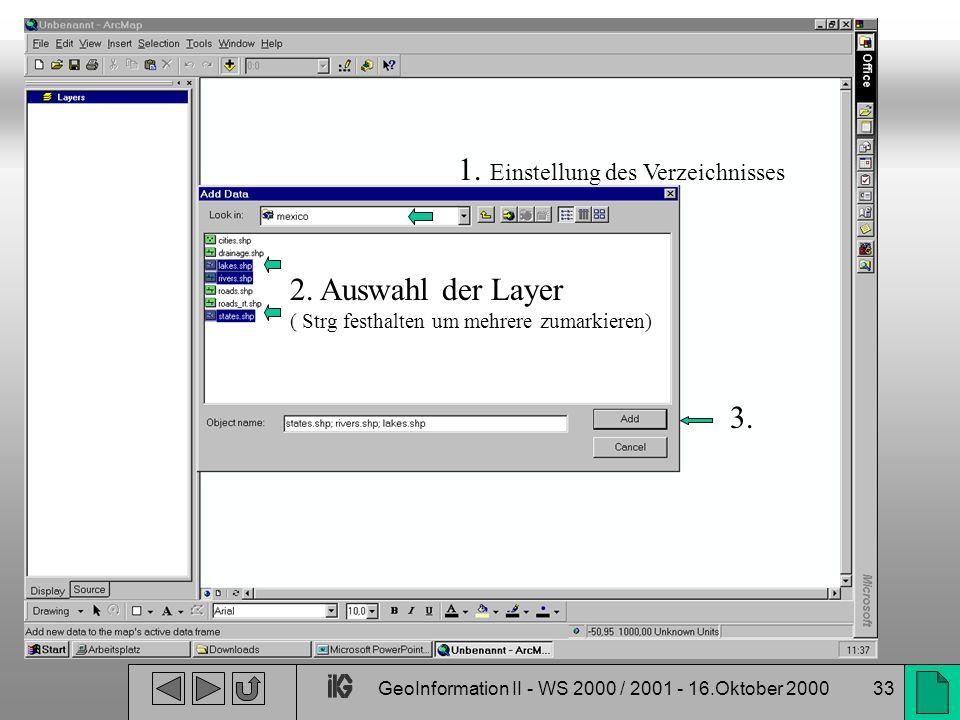 GeoInformation II - WS 2000 / 2001 - 16.Oktober 200033 1. Einstellung des Verzeichnisses 2. Auswahl der Layer ( Strg festhalten um mehrere zumarkieren