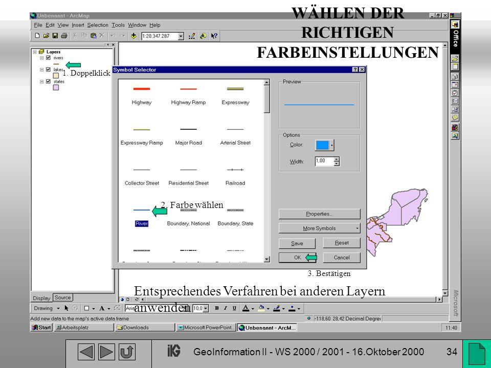 GeoInformation II - WS 2000 / 2001 - 16.Oktober 200034 Entsprechendes Verfahren bei anderen Layern anwenden 1. Doppelklick 2. Farbe wählen 3. Bestätig