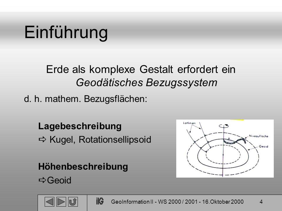 GeoInformation II - WS 2000 / 2001 - 16.Oktober 200055