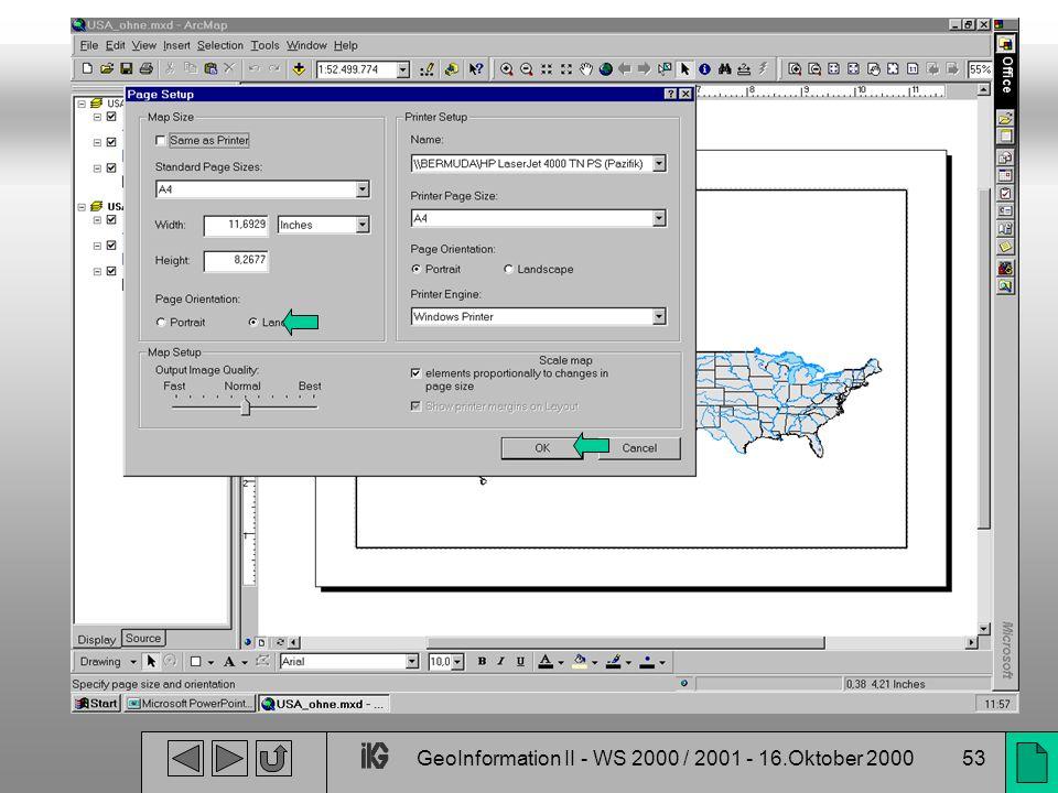 GeoInformation II - WS 2000 / 2001 - 16.Oktober 200053