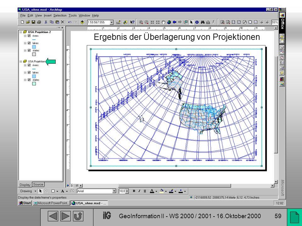 GeoInformation II - WS 2000 / 2001 - 16.Oktober 200059 Ergebnis der Überlagerung von Projektionen