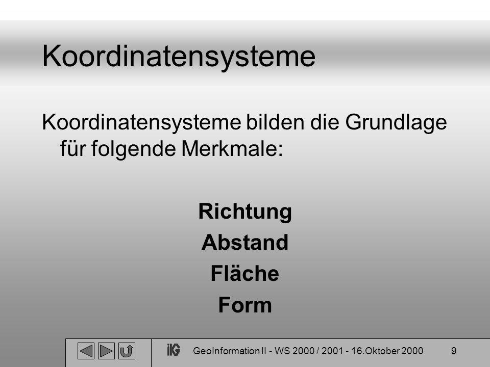 GeoInformation II - WS 2000 / 2001 - 16.Oktober 20009 Koordinatensysteme Koordinatensysteme bilden die Grundlage für folgende Merkmale: Richtung Absta
