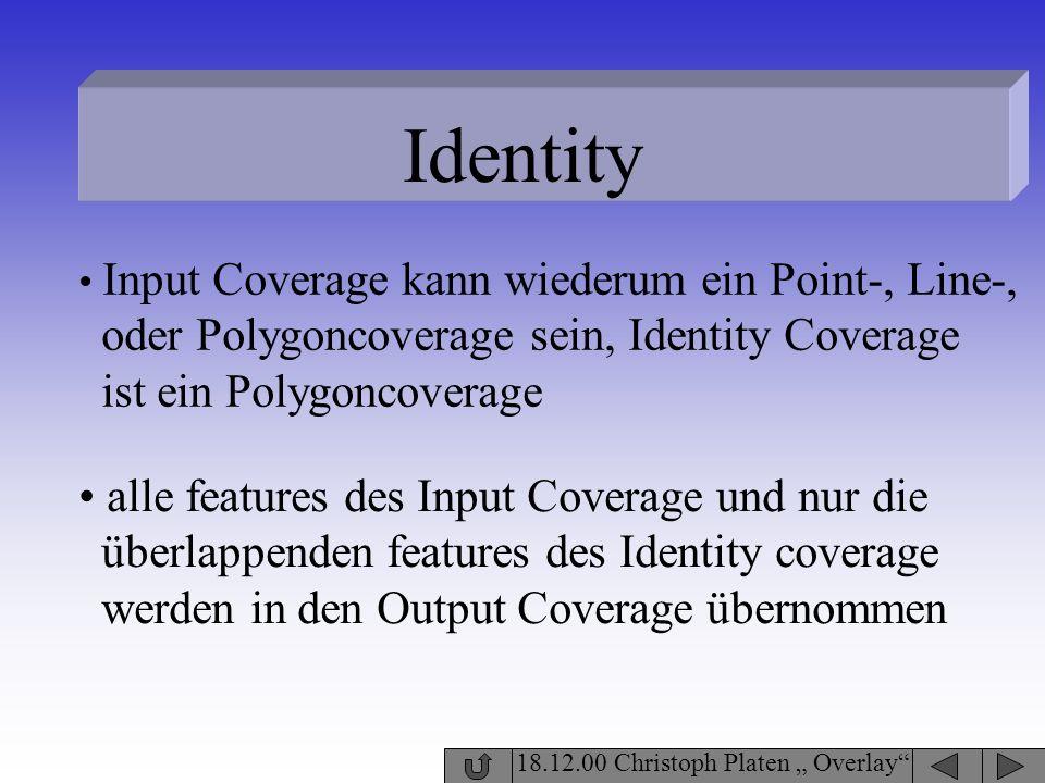 Identity 18.12.00 Christoph Platen Overlay Input Coverage kann wiederum ein Point-, Line-, oder Polygoncoverage sein, Identity Coverage ist ein Polygo