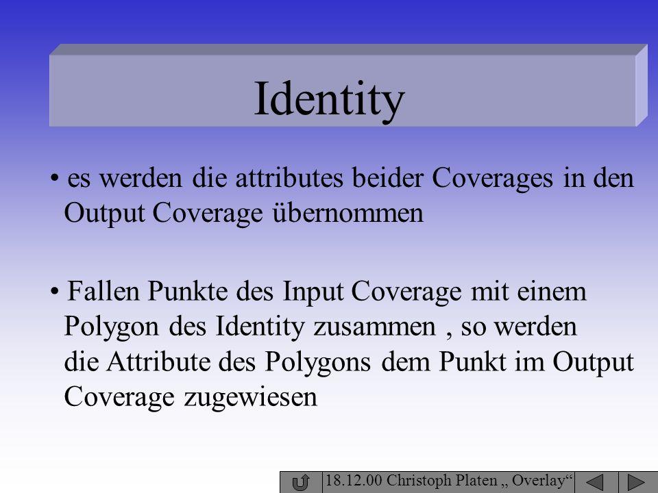 Identity 18.12.00 Christoph Platen Overlay es werden die attributes beider Coverages in den Output Coverage übernommen Fallen Punkte des Input Coverag