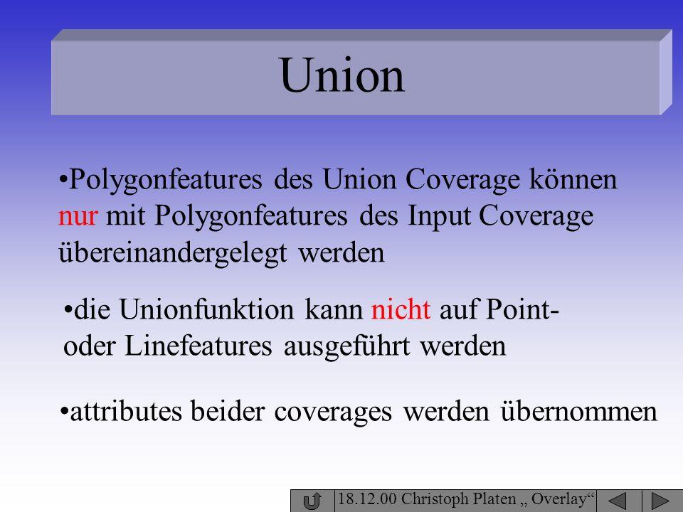 Union 18.12.00 Christoph Platen Overlay Polygonfeatures des Union Coverage können nur mit Polygonfeatures des Input Coverage übereinandergelegt werden