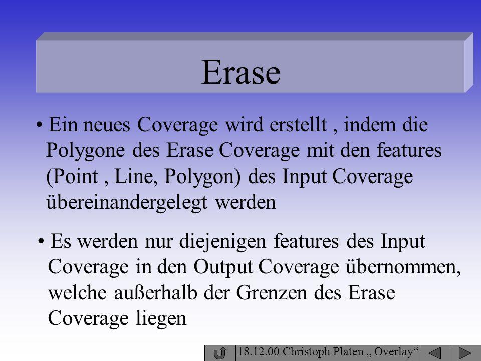Erase 18.12.00 Christoph Platen Overlay Ein neues Coverage wird erstellt, indem die Polygone des Erase Coverage mit den features (Point, Line, Polygon