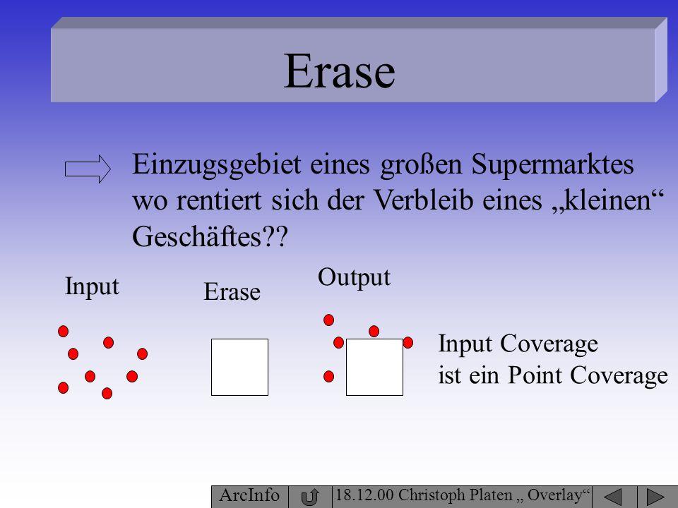 Erase 18.12.00 Christoph Platen Overlay ArcInfo Input Coverage ist ein Point Coverage Einzugsgebiet eines großen Supermarktes wo rentiert sich der Ver