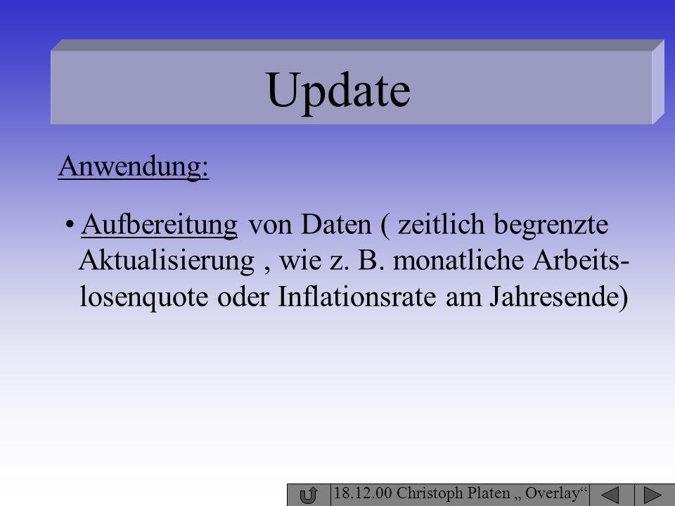 Update 18.12.00 Christoph Platen Overlay Aufbereitung von Daten ( zeitlich begrenzte Aktualisierung, wie z. B. monatliche Arbeits- losenquote oder Inf