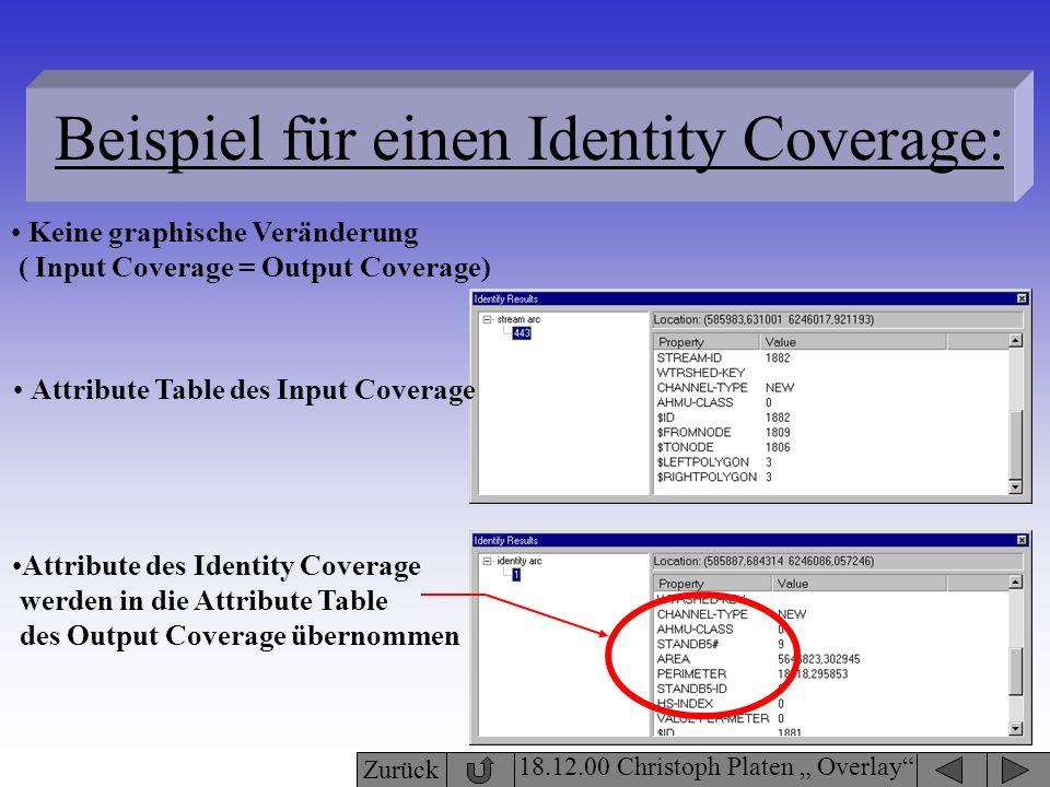 18.12.00 Christoph Platen Overlay Beispiel für einen Identity Coverage: Keine graphische Veränderung ( Input Coverage = Output Coverage) Attribute des