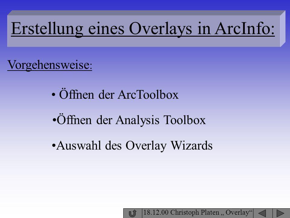 18.12.00 Christoph Platen Overlay Erstellung eines Overlays in ArcInfo: Öffnen der ArcToolbox Vorgehensweise : Öffnen der Analysis Toolbox Auswahl des