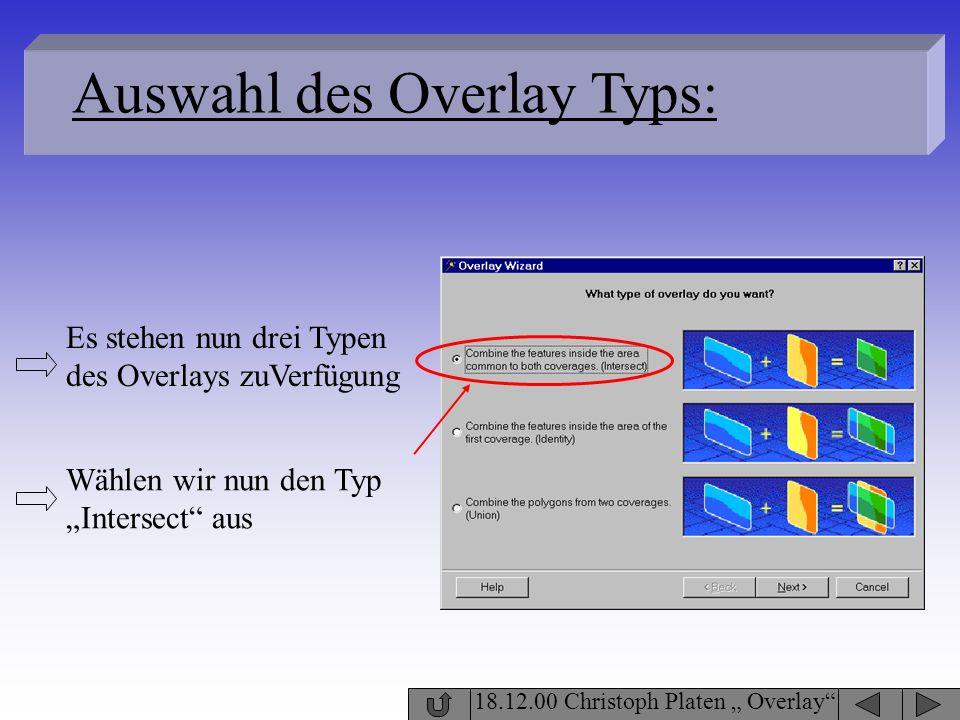18.12.00 Christoph Platen Overlay Auswahl des Overlay Typs: Wählen wir nun den Typ Intersect aus Es stehen nun drei Typen des Overlays zuVerfügung