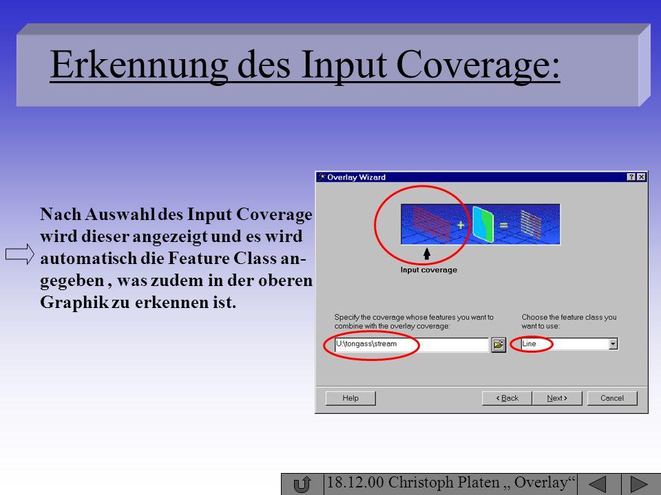 18.12.00 Christoph Platen Overlay Erkennung des Input Coverage: Nach Auswahl des Input Coverage wird dieser angezeigt und es wird automatisch die Feat