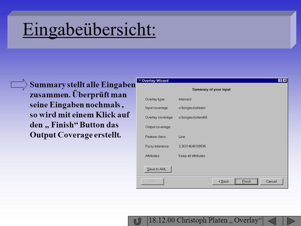 18.12.00 Christoph Platen Overlay Eingabeübersicht: Summary stellt alle Eingaben zusammen. Überprüft man seine Eingaben nochmals, so wird mit einem Kl