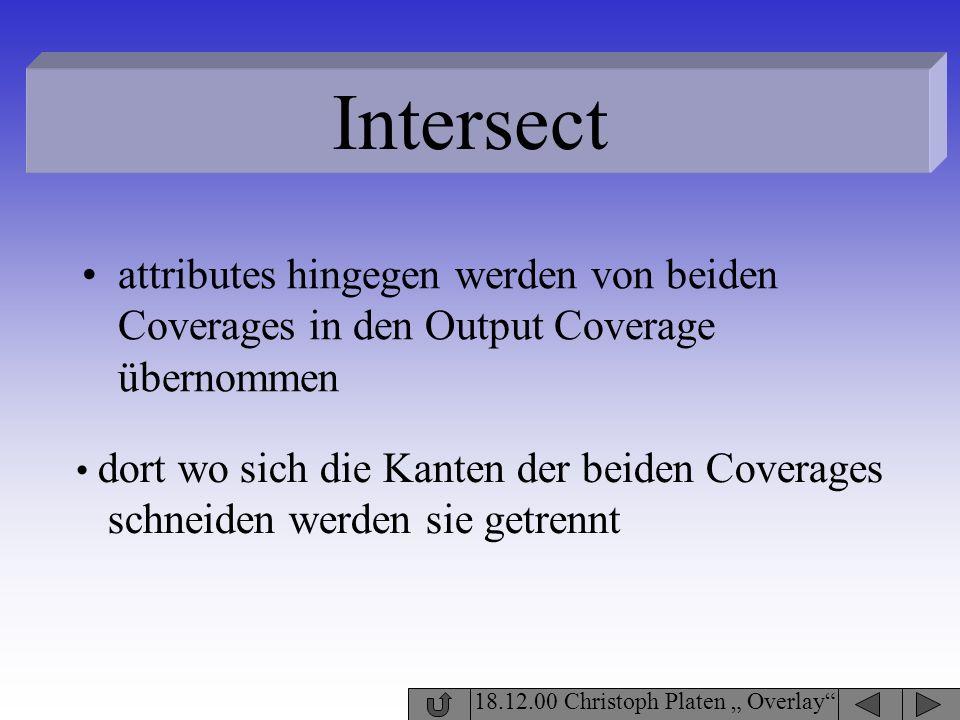 18.12.00 Christoph Platen Overlay Intersect attributes hingegen werden von beiden Coverages in den Output Coverage übernommen dort wo sich die Kanten
