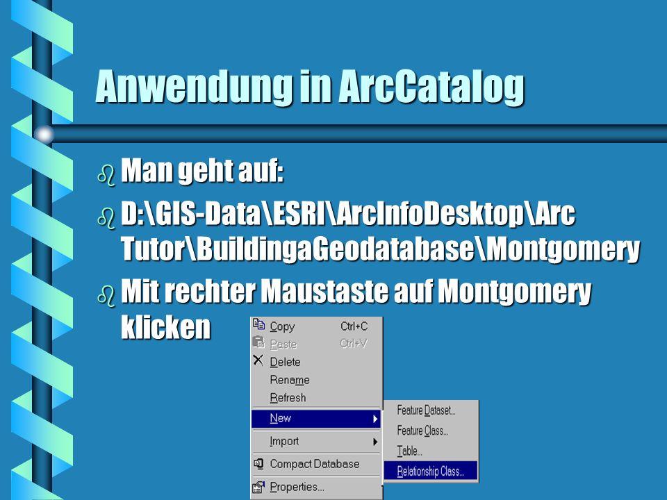 Anwendung in ArcCatalog b Man geht auf: b D:\GIS-Data\ESRI\ArcInfoDesktop\Arc Tutor\BuildingaGeodatabase\Montgomery b Mit rechter Maustaste auf Montgo