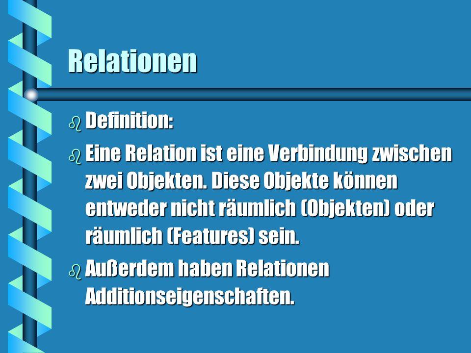 Relationen b Definition: b Eine Relation ist eine Verbindung zwischen zwei Objekten. Diese Objekte können entweder nicht räumlich (Objekten) oder räum