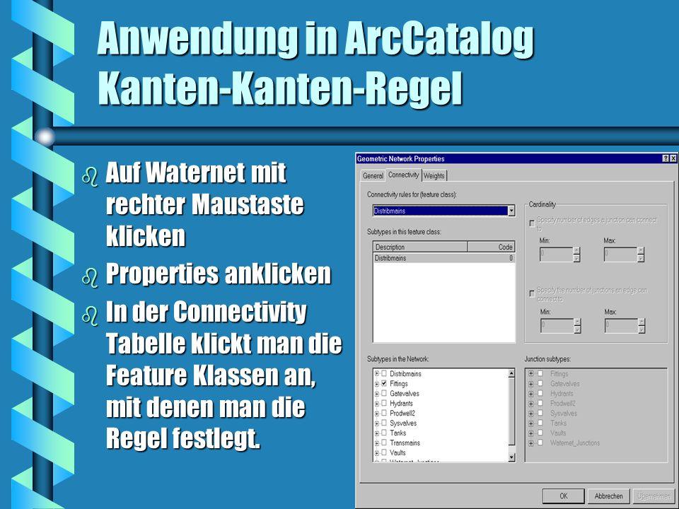 Anwendung in ArcCatalog Kanten-Kanten-Regel b Auf Waternet mit rechter Maustaste klicken b Properties anklicken b In der Connectivity Tabelle klickt m