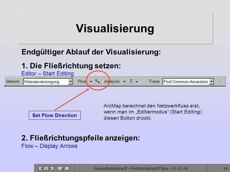 Geoinformation II - Netzwerke mit Fluss - 13.11.0016 Visualisierung Endgültiger Ablauf der Visualisierung: 1. Die Fließrichtung setzen: Editor – Start