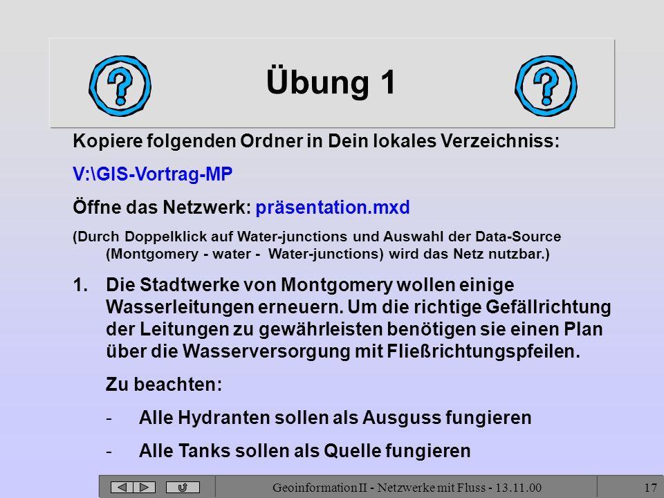 Geoinformation II - Netzwerke mit Fluss - 13.11.0017 Übung 1 Kopiere folgenden Ordner in Dein lokales Verzeichniss: V:\GIS-Vortrag-MP Öffne das Netzwe