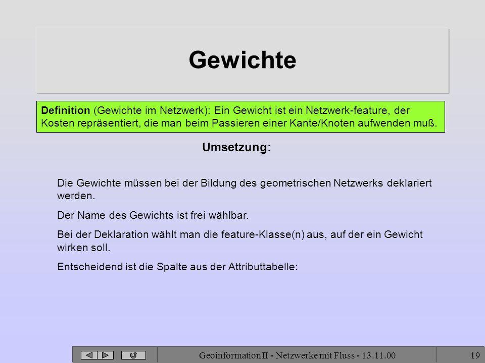 Geoinformation II - Netzwerke mit Fluss - 13.11.0019 Gewichte Umsetzung: Definition (Gewichte im Netzwerk): Ein Gewicht ist ein Netzwerk-feature, der