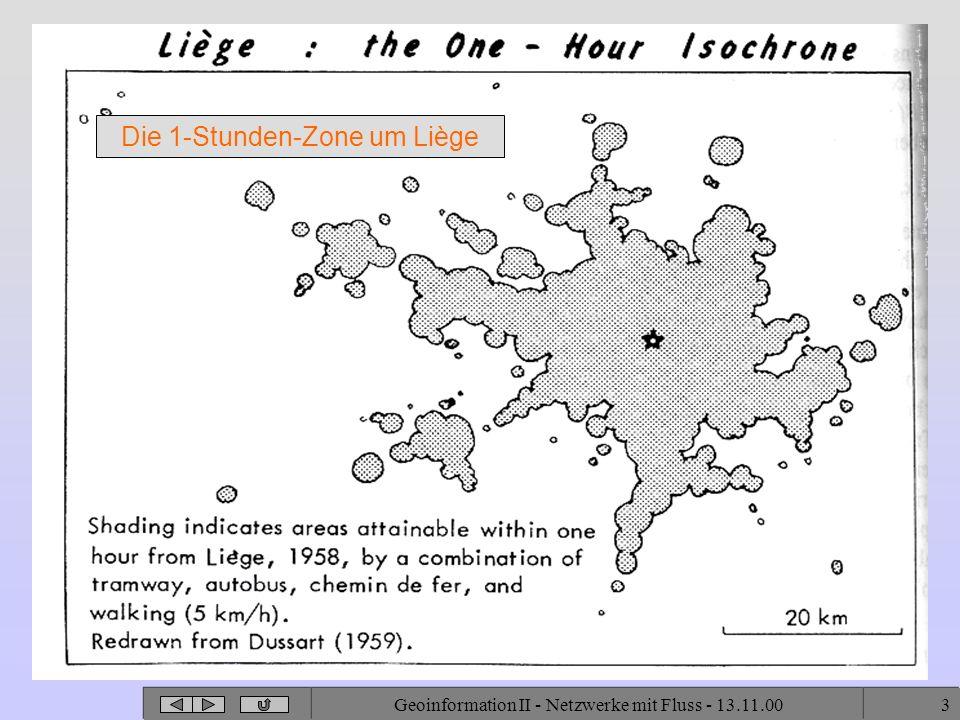 Geoinformation II - Netzwerke mit Fluss - 13.11.003 Die 1-Stunden-Zone um Liège