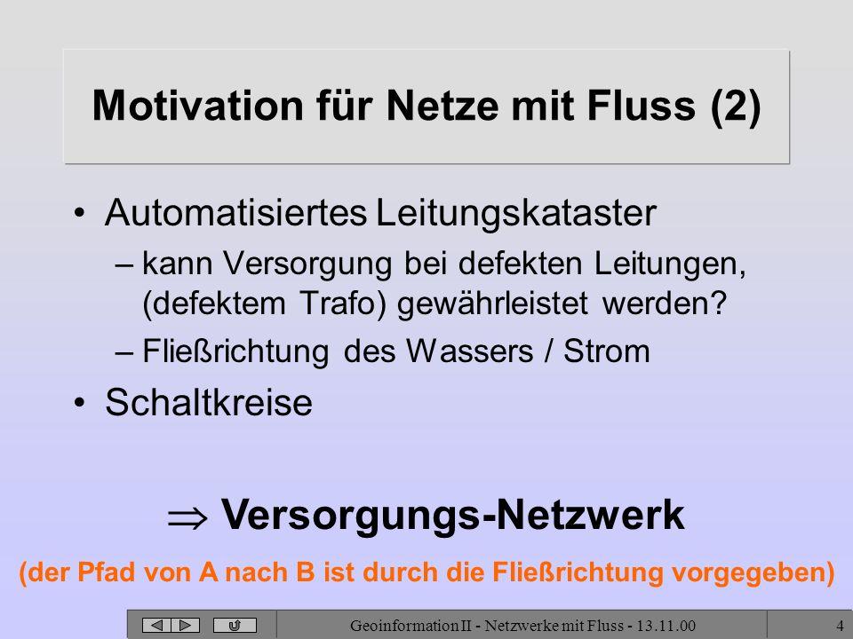 Geoinformation II - Netzwerke mit Fluss - 13.11.004 Motivation für Netze mit Fluss (2) Automatisiertes Leitungskataster –kann Versorgung bei defekten Leitungen, (defektem Trafo) gewährleistet werden.