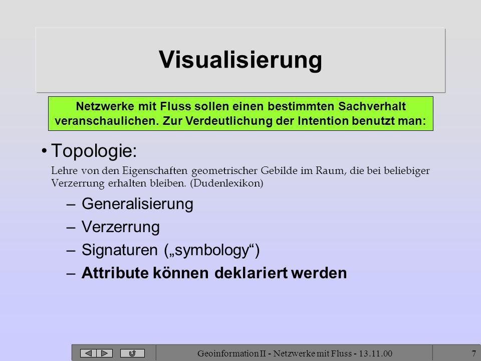Geoinformation II - Netzwerke mit Fluss - 13.11.007 Visualisierung Topologie: Lehre von den Eigenschaften geometrischer Gebilde im Raum, die bei belie