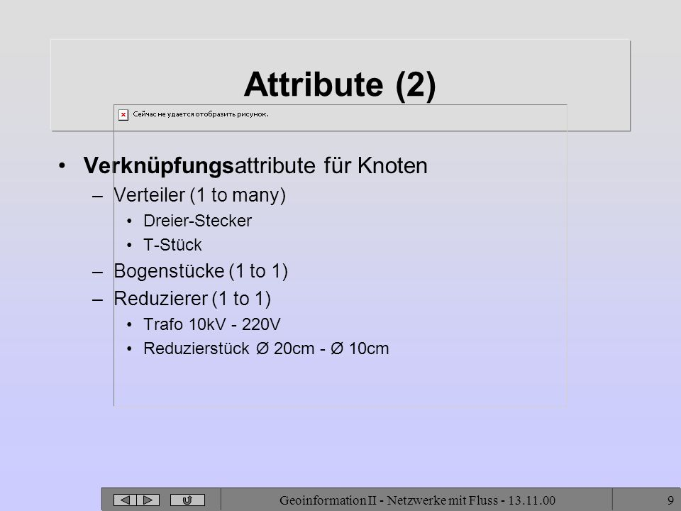 Geoinformation II - Netzwerke mit Fluss - 13.11.009 Attribute (2) Verknüpfungsattribute für Knoten –Verteiler (1 to many) Dreier-Stecker T-Stück –Bogenstücke (1 to 1) –Reduzierer (1 to 1) Trafo 10kV - 220V Reduzierstück Ø 20cm - Ø 10cm