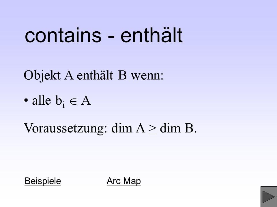 Objekt A enthält B wenn: contains - enthält Beispiele Arc Map Voraussetzung: dim A > dim B. alle b i A