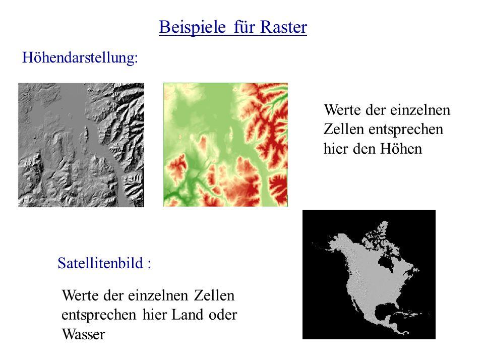 Beispiele für Raster Höhendarstellung: Werte der einzelnen Zellen entsprechen hier den Höhen Satellitenbild : Werte der einzelnen Zellen entsprechen h