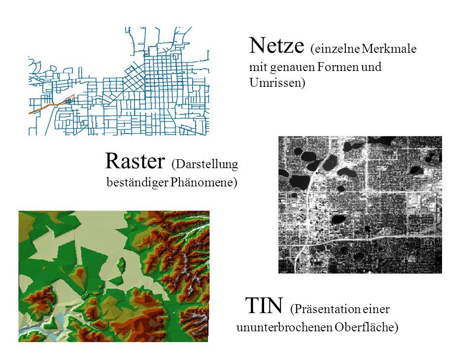 Raster (Darstellung beständiger Phänomene) Netze (einzelne Merkmale mit genauen Formen und Umrissen) TIN (Präsentation einer ununterbrochenen Oberfläc