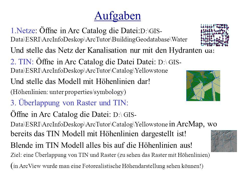 Aufgaben 1.Netze: Öffne in Arc Catalog die Datei: D:\GIS- Data\ESRI\ArcInfoDeskop\ArcTutor\BuildingGeodatabase\Water Und stelle das Netz der Kanalisat