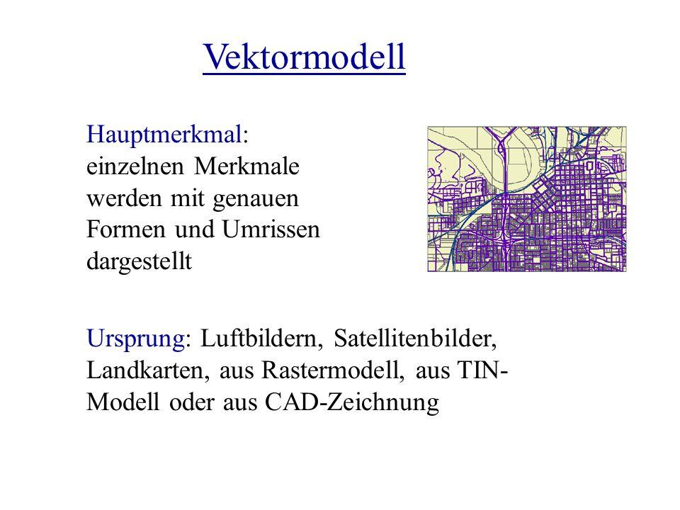 Hauptmerkmal: einzelnen Merkmale werden mit genauen Formen und Umrissen dargestellt Ursprung: Luftbildern, Satellitenbilder, Landkarten, aus Rastermod
