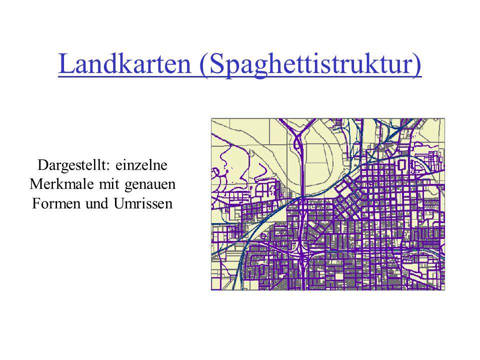 Landkarten (Spaghettistruktur) Dargestellt: einzelne Merkmale mit genauen Formen und Umrissen
