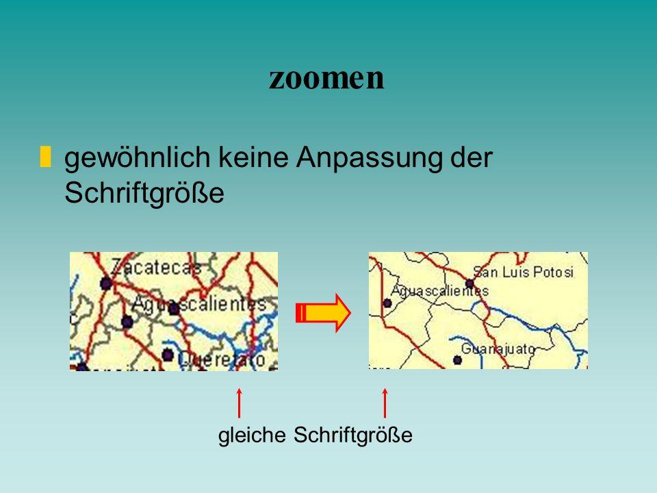 zoomen zgewöhnlich keine Anpassung der Schriftgröße gleiche Schriftgröße