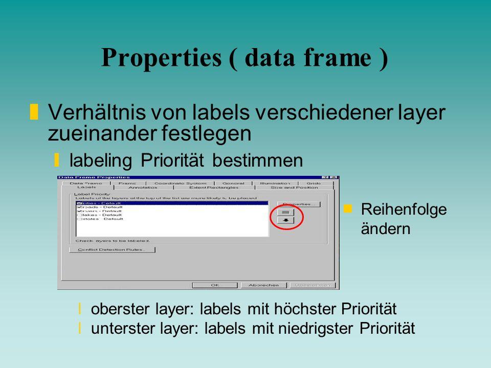 Properties ( data frame ) zVerhältnis von labels verschiedener layer zueinander festlegen ylabeling Priorität bestimmen xoberster layer: labels mit hö