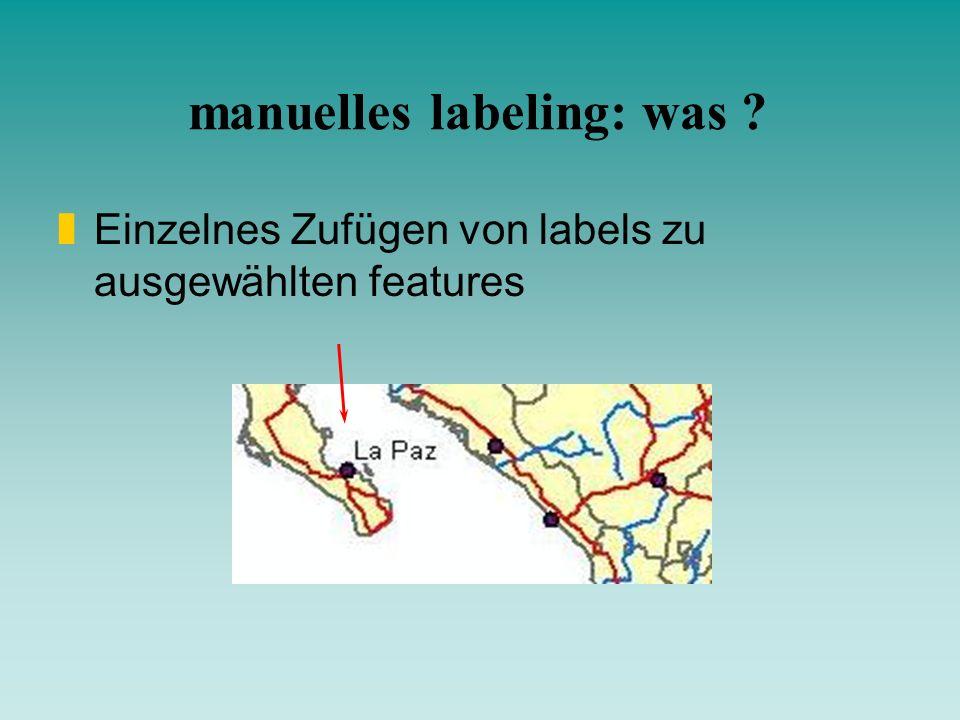 manuelles labeling: was ? zEinzelnes Zufügen von labels zu ausgewählten features