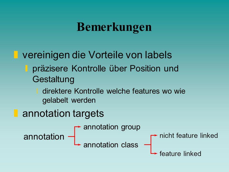 Bemerkungen zvereinigen die Vorteile von labels ypräzisere Kontrolle über Position und Gestaltung xdirektere Kontrolle welche features wo wie gelabelt