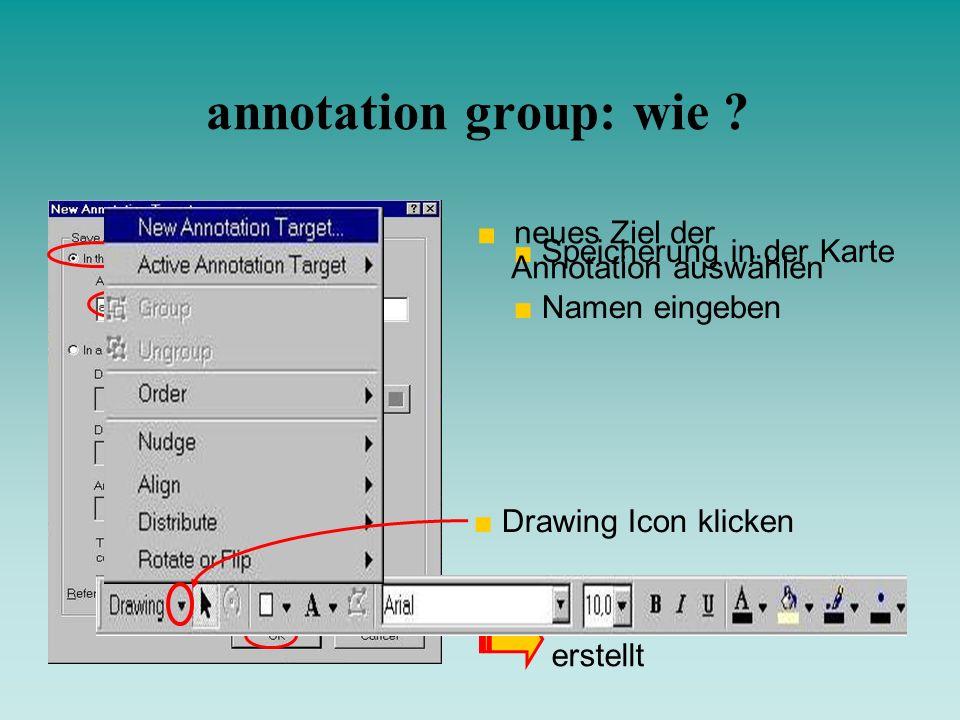 Speicherung in der Karte Namen eingeben annotation group wird erstellt annotation group: wie ? Drawing Icon klicken neues Ziel der Annotation auswähle