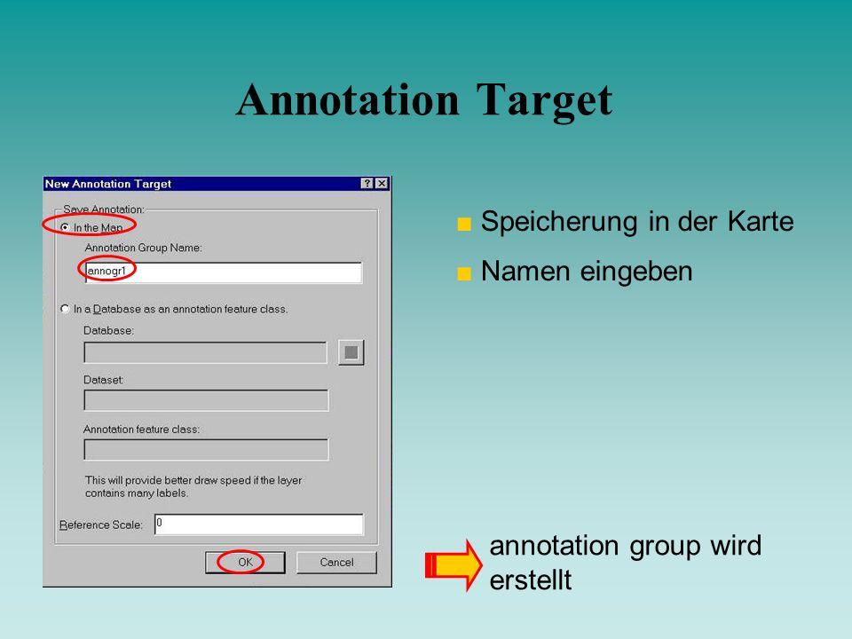 Annotation Target Speicherung in der Karte Namen eingeben annotation group wird erstellt