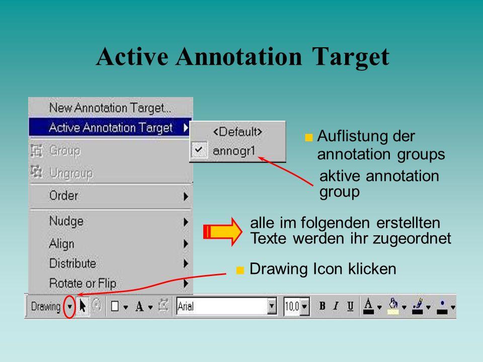 Active Annotation Target Drawing Icon klicken Auflistung der annotation groups aktive annotation group alle im folgenden erstellten Texte werden ihr z