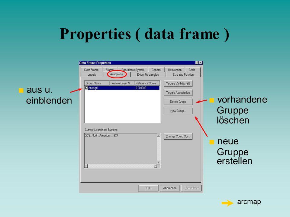 Properties ( data frame ) aus u. einblenden neue Gruppe erstellen vorhandene Gruppe löschen arcmap