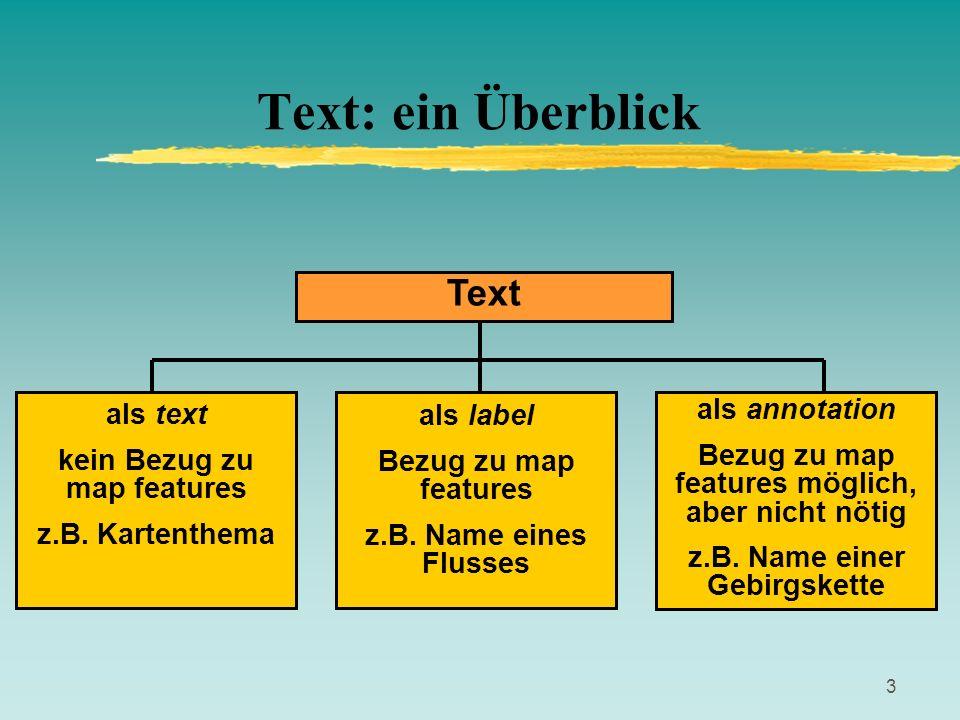 3 Text: ein Überblick Text als text kein Bezug zu map features z.B. Kartenthema als label Bezug zu map features z.B. Name eines Flusses als annotation