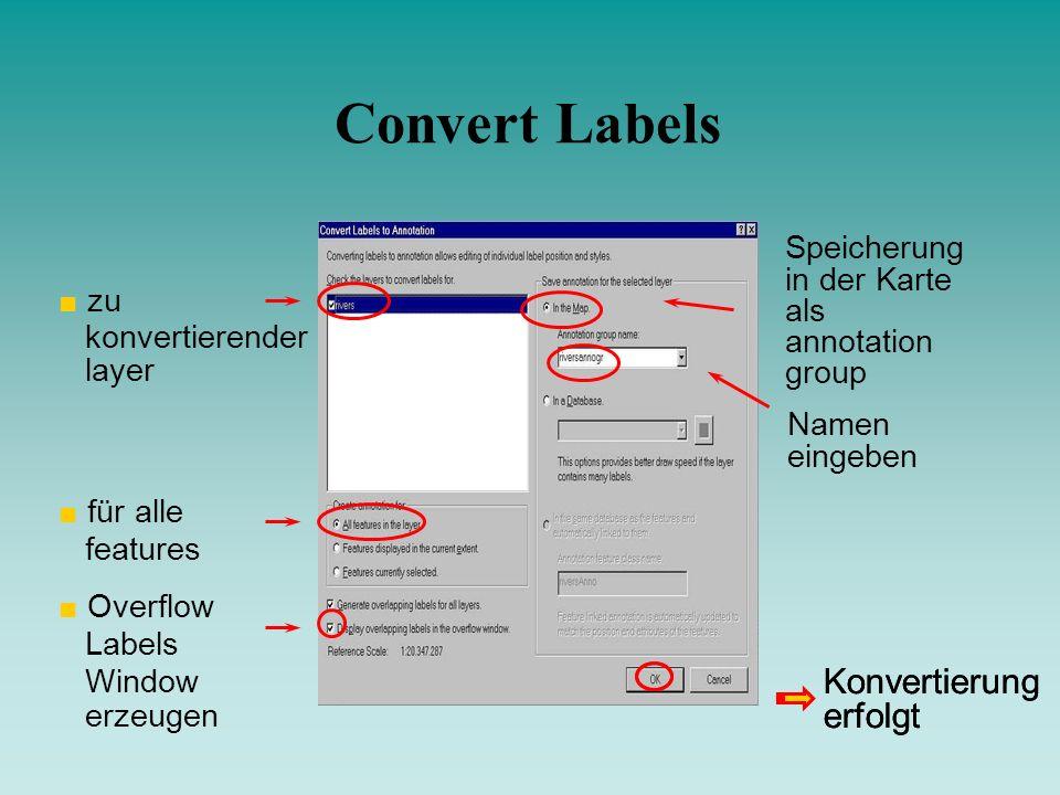 Convert Labels zu konvertierender layer für alle features Overflow Labels Window erzeugen Speicherung in der Karte als annotation group Namen eingeben
