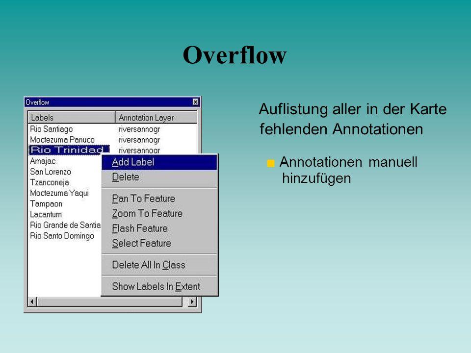 Overflow Auflistung aller in der Karte fehlenden Annotationen Annotationen manuell hinzufügen